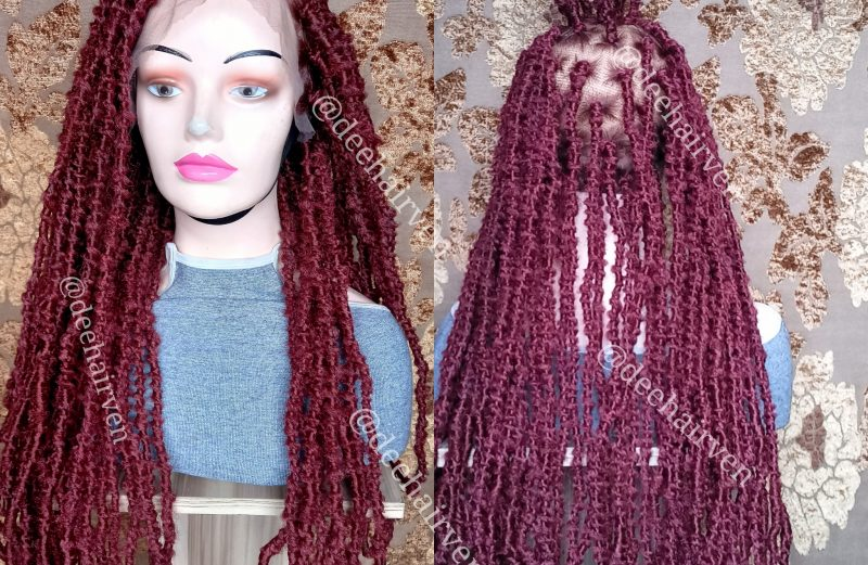 Synthetic full lace distressed locs-burgundy color