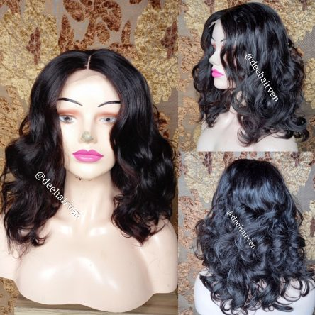 Synthetic mixed bouncy lace wig