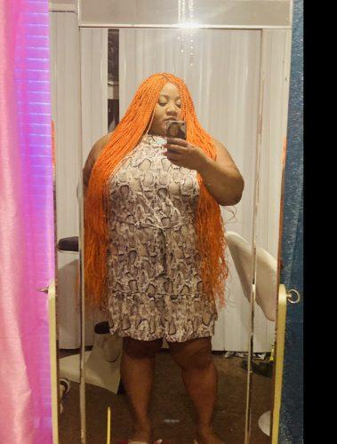 Pumpkin spice orange colored twist braid wig - 38 inches photo review
